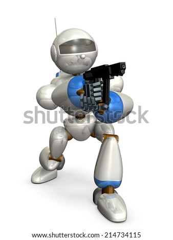 Robot made of metal. It is holding a pistol. - stock photo