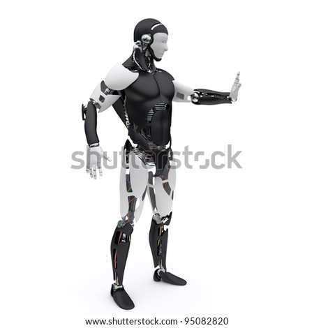 Robot makes a signt to stop - stock photo