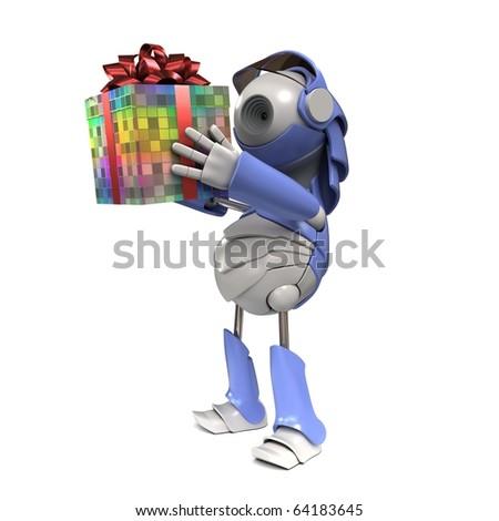 Robot makes the present - stock photo