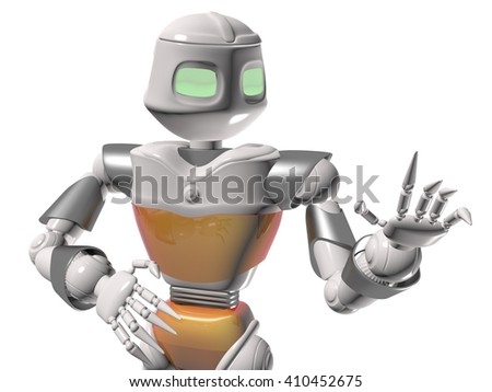 Robot man on a white background closeup. 3d render. - stock photo