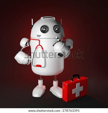 Robot Medic. Computer repair concept. Rendered over dark background - stock photo