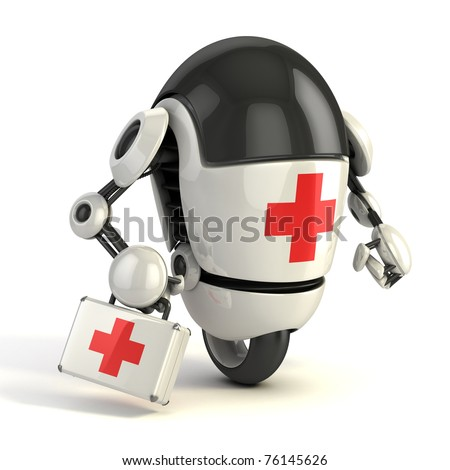 robot medic - 3d rendering of the funny cartoon like robot with the first aid sing on it holding the medical first aid kit - stock photo