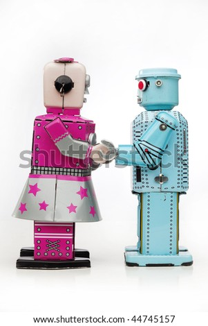 robot meeting - stock photo
