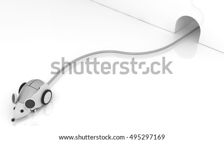 Robot mouse wire connected 3d illustration, horizontal, over white