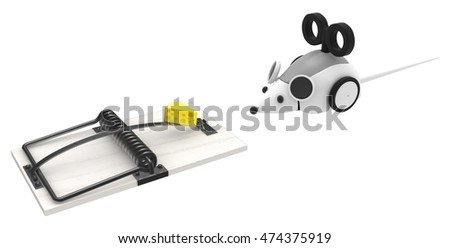 Robot mouse with trap 3d illustration, horizontal, isolated