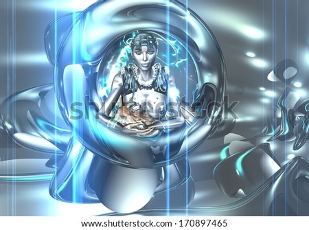 Robot nurtures baby. A futuristic android nourishes the next generation with the latest technology. Artificial intelligence takes on new meaning. - stock photo