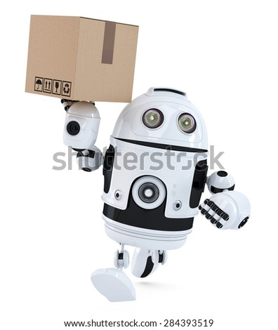 Robot on a hurry delivering package. Isolated over white. Contains clipping path - stock photo