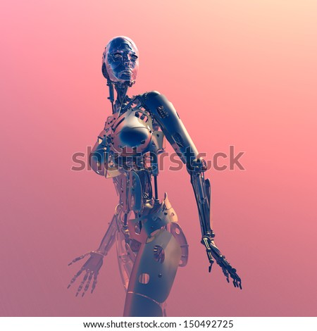 Robot on a  pink background - stock photo