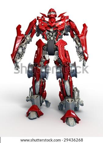 Robot on white background - stock photo