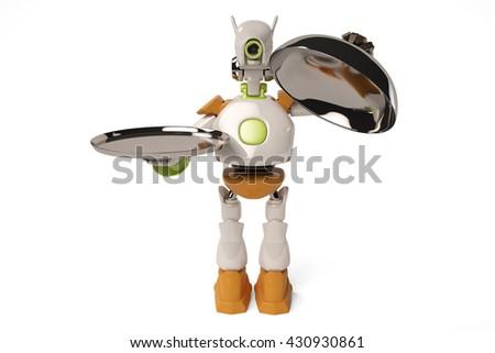 Robot open steel tray,3D illustration. - stock photo