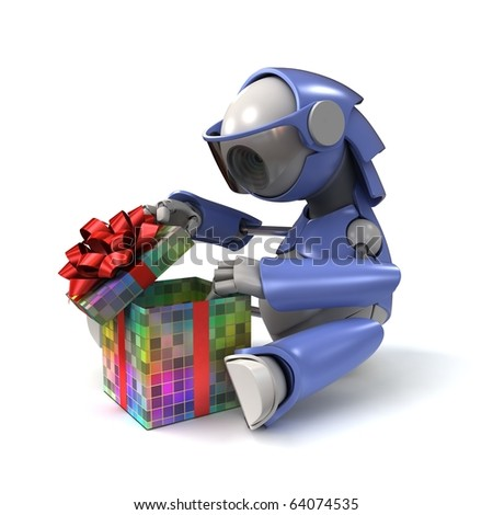Robot opens a gift - stock photo