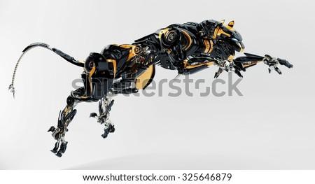 Robot panther jumps - stock photo