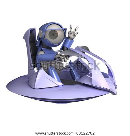 Robot pilot - stock photo