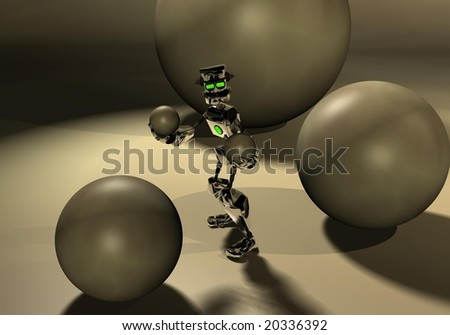 robot playing around some spheres