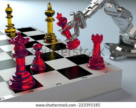 Robot playing chess on a blue background. - stock photo