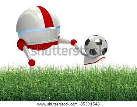 Robot playing soccer - stock photo