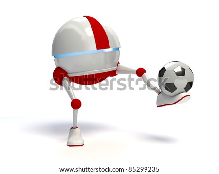 Robot playing soccer, isolated on white background - stock photo