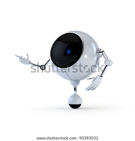 Robot Point Side - stock photo