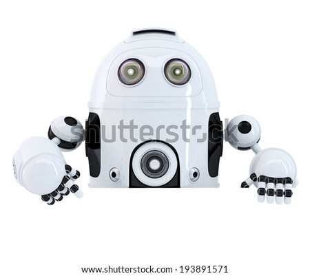 Robot pointing at blank banner. Isolated. Contains clipping path - stock photo