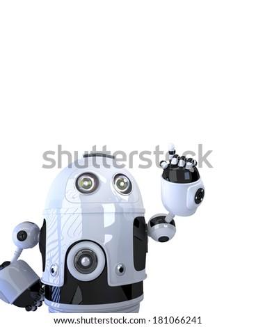 Robot pointing at something. Isolated on white background - stock photo