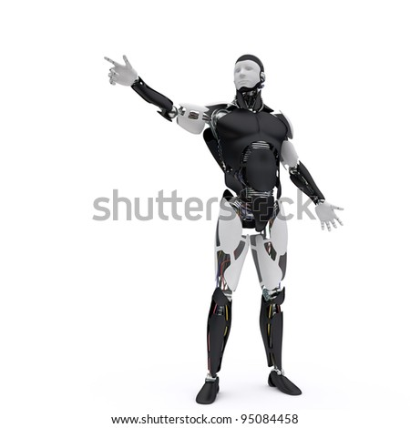 Robot points his finger - stock photo