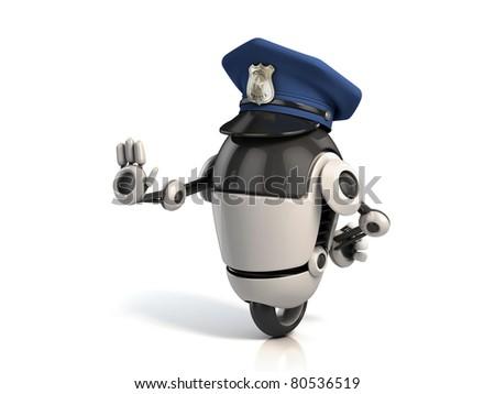 robot policeman - stock photo