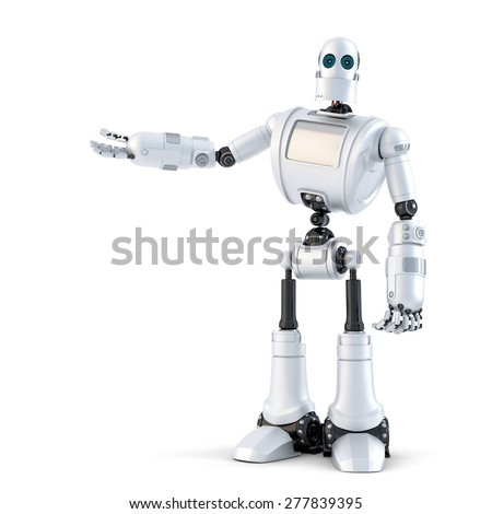 Robot presenting an invisible object. Isolated over white. Contains clipping path - stock photo