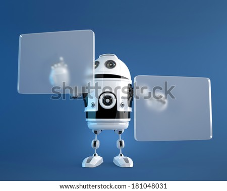 Robot pushing a button on digital vurtual screen. Technology concept - stock photo