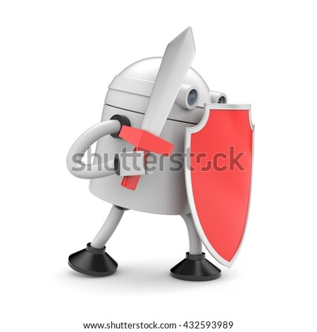 Robot ready to fight. 3d illustration - stock photo