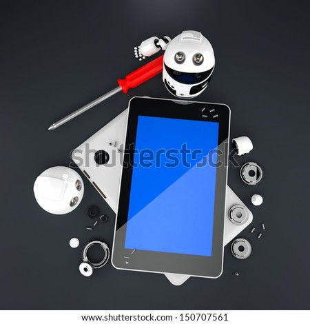 Robot repairing tablet computer. Technology concept - stock photo