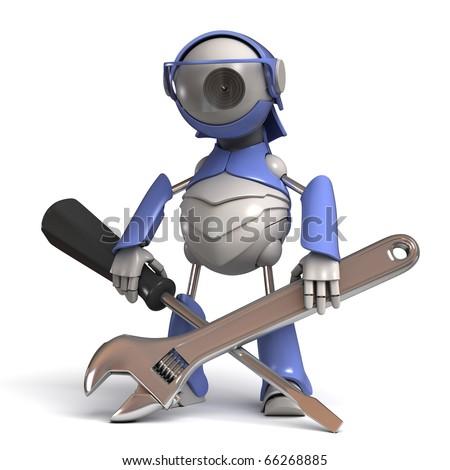Robot repairman - stock photo