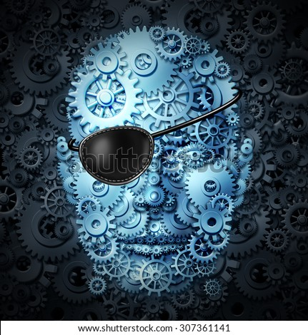 Robot revolution technology concept as a mechanical human or a bionic person with artificial intelligence or AI computing ability wearing a pirate eyepatch or eye patch as a symbol for the danger. - stock photo