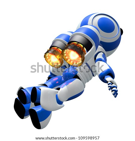 Robot rocketeer flying toward the heavens with burning ignited jets. Inspirational image of discovery.