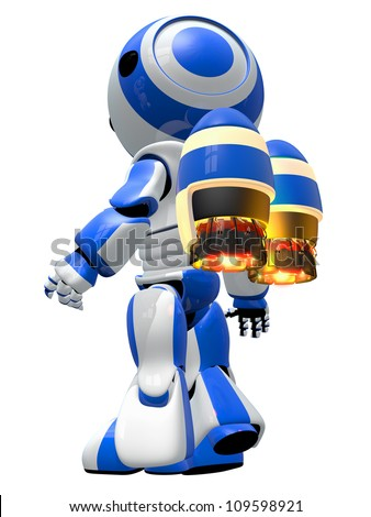 Robot rocketeer with jetpack, ready to take off and fly to new discoveries. - stock photo