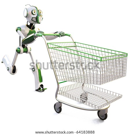 robot runs pushing a shopping cart. isolated on white including clipping path. - stock photo