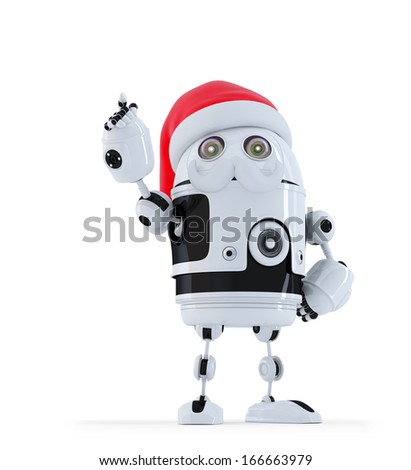 Robot Santa pointing up. Christmas concept