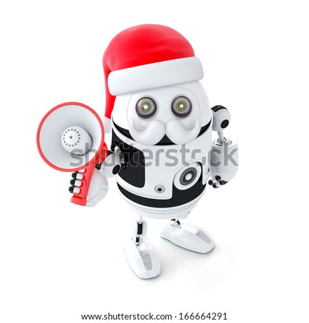 Robot Santa with megaphone. Christmas concept. Isolated