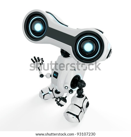 """Robot says - """"hello"""" / Cute bright robot greeting with hand - stock photo"""