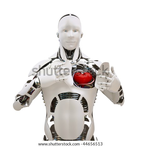 Robot shows heart in his chest - stock photo