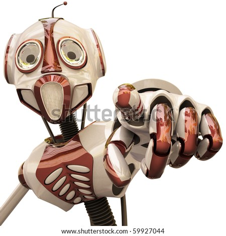 Robot shows you index finger. with clipping path. - stock photo