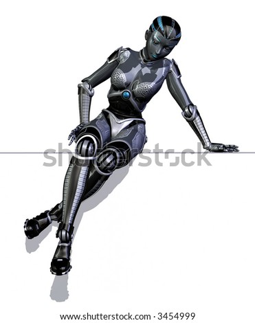 Robot Sitting and Leaning on Edge - stock photo