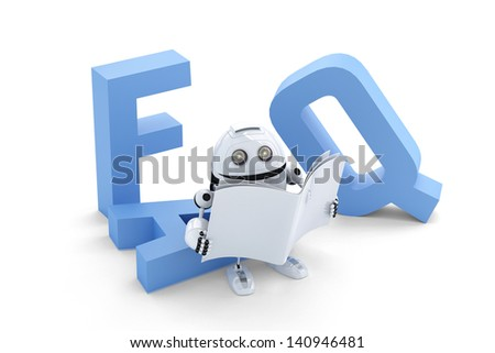 Robot sitting on 3D FAQ sign. Isolated over white background - stock photo