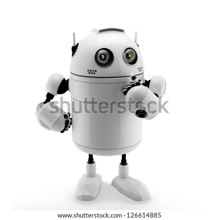 Robot standing in thinking pose. Isolated on a white - stock photo