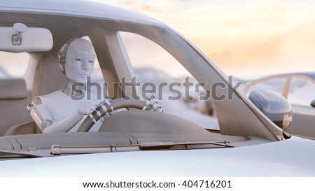 Robot stuck in a traffic jam - autonomous transport  and self-driving cars concept 3D illustration.  - stock photo