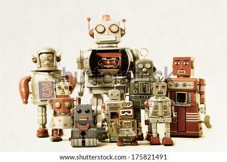 robot team - stock photo