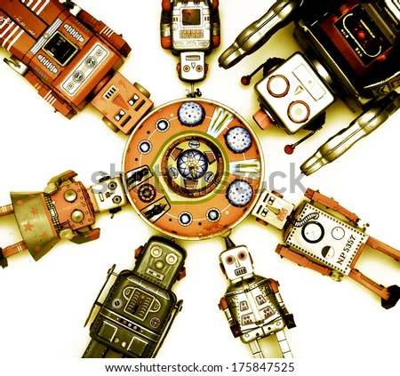 Robot Toys Around there Mother Ship - stock photo