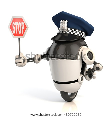 robot traffic policeman holding the stop sign - stock photo