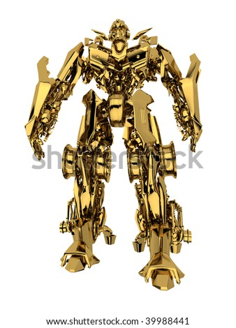 Robot transformer isolated on white background. - stock photo