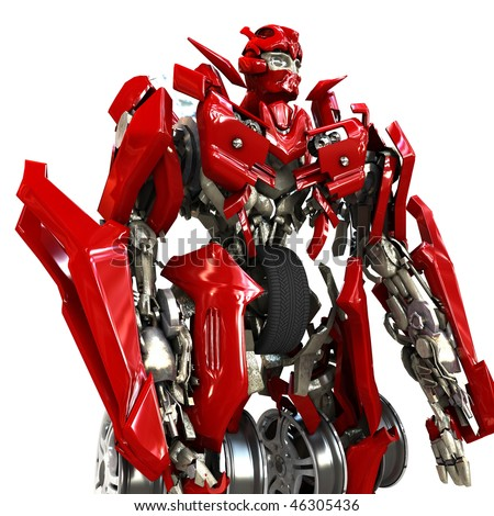 Robot transformer isolated on white background. 3d render - stock photo