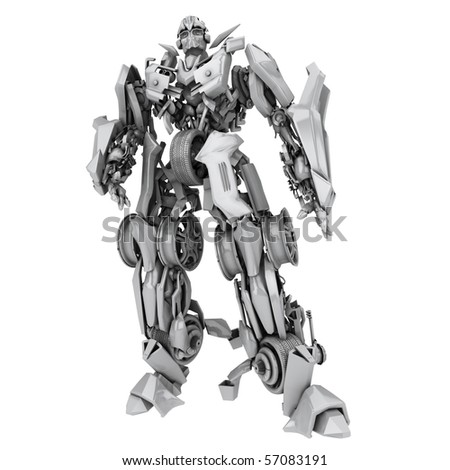 Robot transformer isolated on white background. 3d render